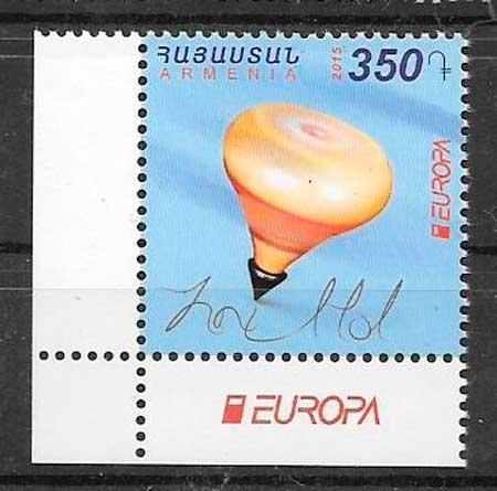 colección sellos tema Europa Armenia 2015