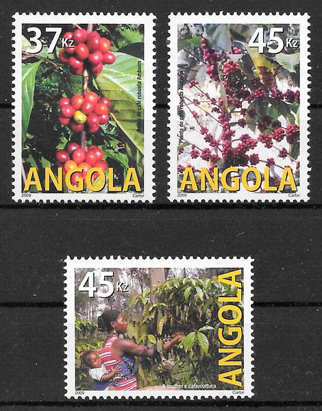 filatelia colección frutas Angola 2009