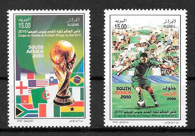 colección sellos fútbol Argelia 2010