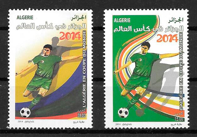 filatelia fútbol Argelia 2014
