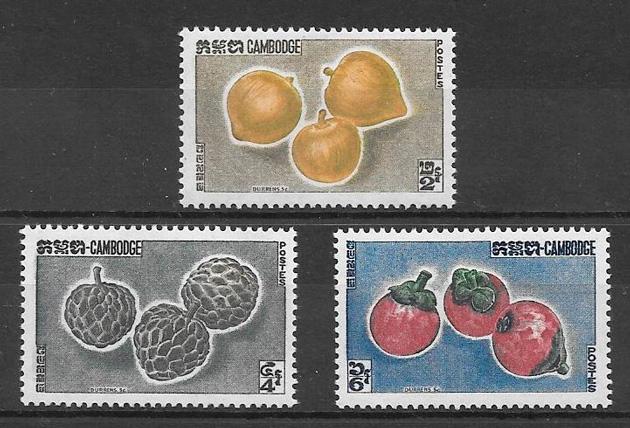 filatelia frutas Camboya 1962