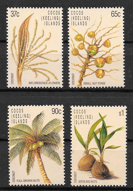 colección sellos frutas Cocos Islands 1988