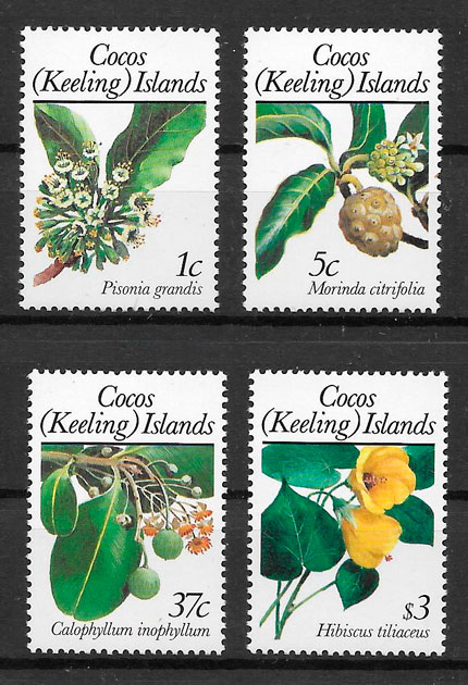 sellos frutas Cocos Islands 1988