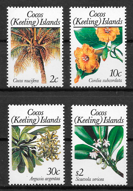 SELLOS frutas Cocos Islands 1989