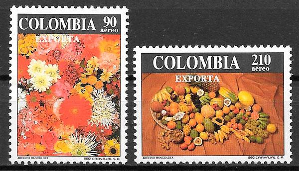 sellos frutas Colombia 1992 frutas