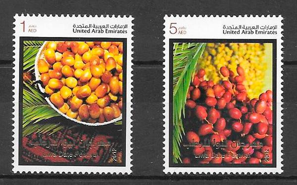 filatelia coleccion frutas E.A.Unidos 2012