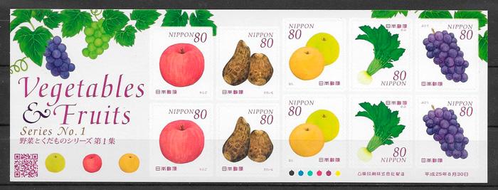 filatelia frutas Japon 2013