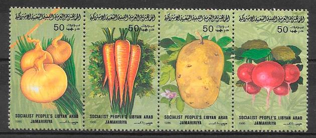 filatelia frutas Libia 1986
