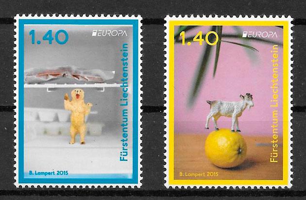 filatelia colección tema Europa Liechtenstein 2015