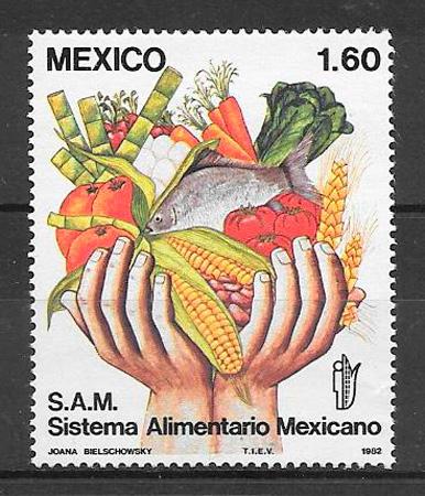 filatelia colección México frutas 1982