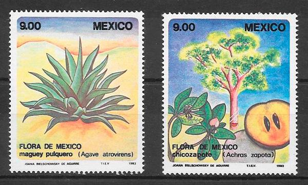 filatelia colección frutas México 1983