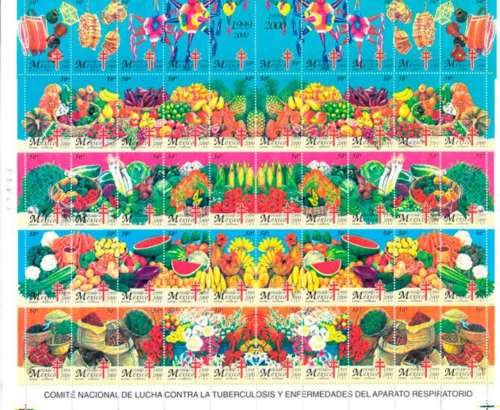 filatelia coleccion Mexico 2003 frutas