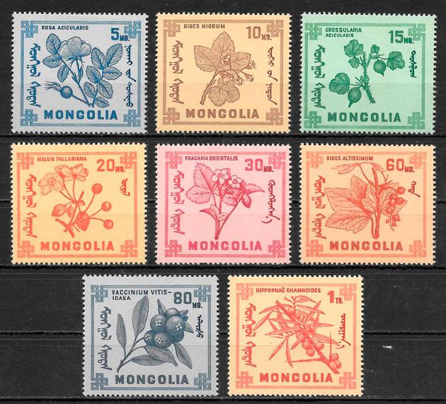 colección sellos frutas Mongolia 1968