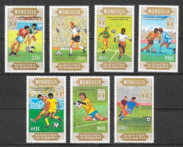 filatelia fútbol Mongolia 1985