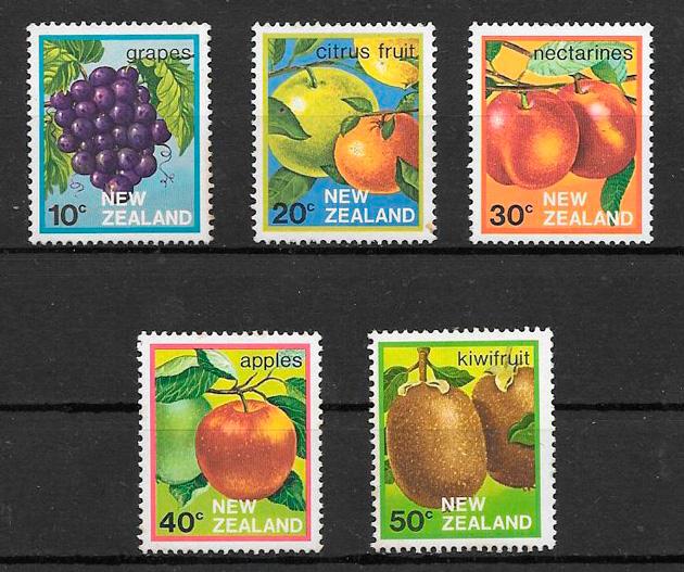colección sellos frutas Nueva Zelanda 1983