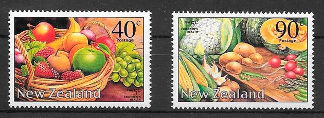 colección sellos frutas Nueva Zelanda 2002