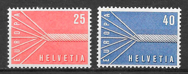 sellos Europa Suiza 1957