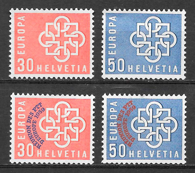 sellos Europa Suiza 1959