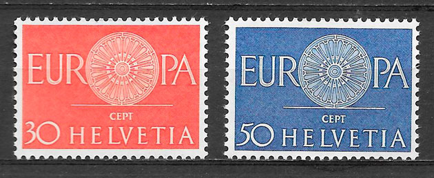 sellos Europa Suiza 1960