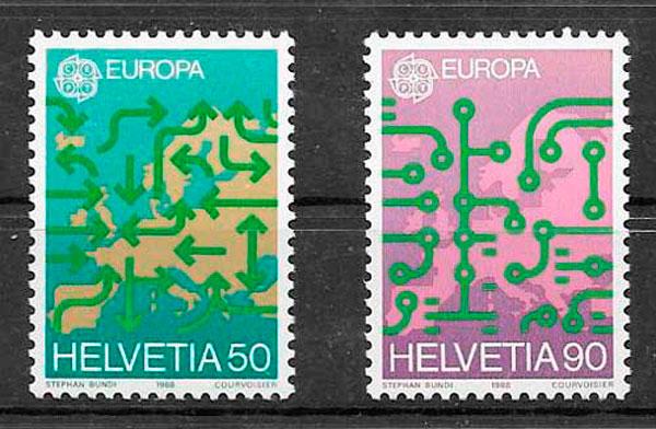 sellos Europa Suiza 1988