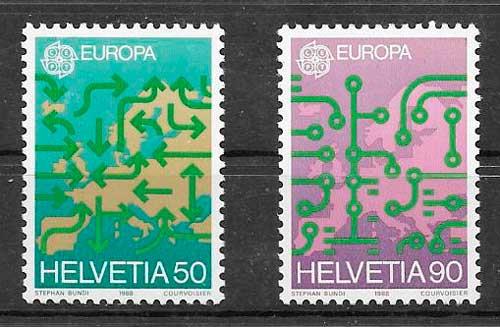 sellos tema Europa Suiza 1988