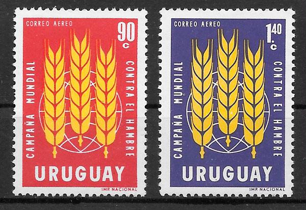 filatelia colección frutas Uruguay 1963