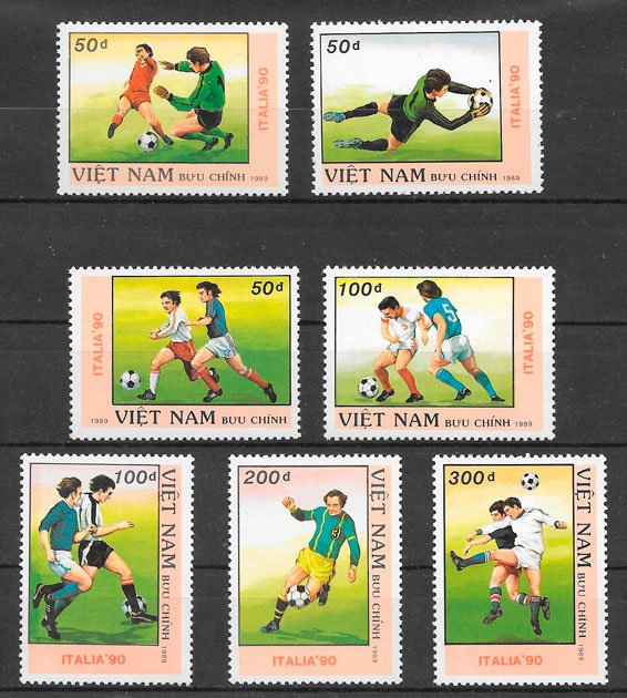sellos fútbol Viet Nam 1989
