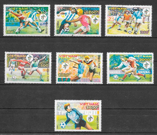 filatelia fútbol Viet Nam 1990