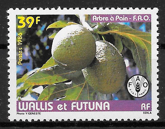 sellos frutas Wallis y Futuna 1986