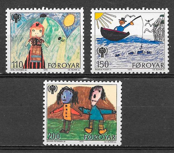 colección sellos temas varios Feroe 1979