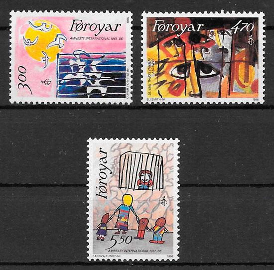 colección sellos temas varios Feroe 1986