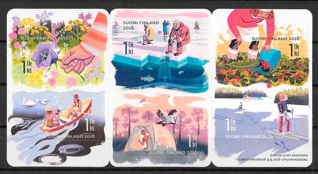 colección sellos temas varios Finlandia 2016