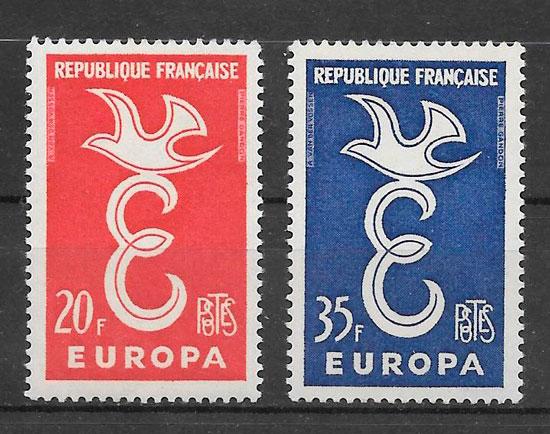 sellos Europa Francia 1958