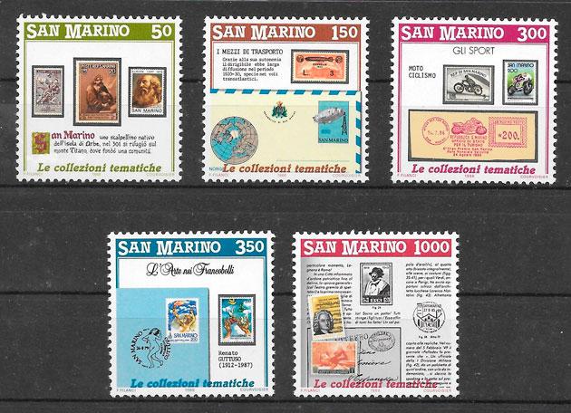 colección sellos temas varios San Marino 1988