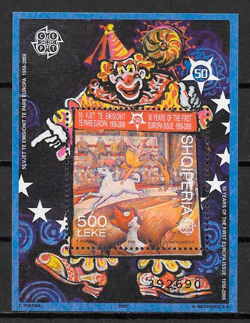 sellos aniversario 50 del Tema Europa Albania 2005