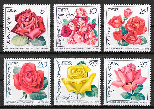 sellos rosas Alemania DDR 1972