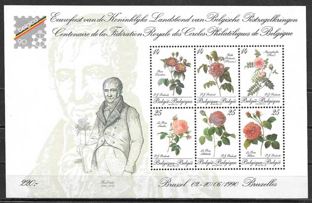 filatelia coleccion rosas Belgica 1990