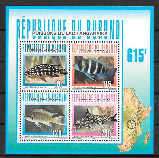 filatelia fauna Burundi 1996