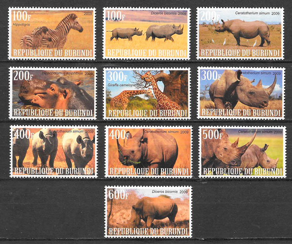 filatelia colección fauna Burundi 2009