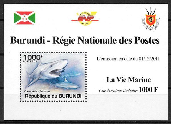 filatelia fauna Burundi 2011
