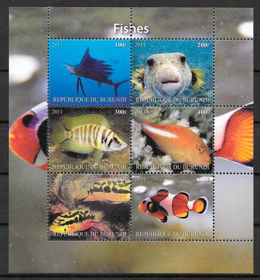 filatelia colección fauna Burundi 2011