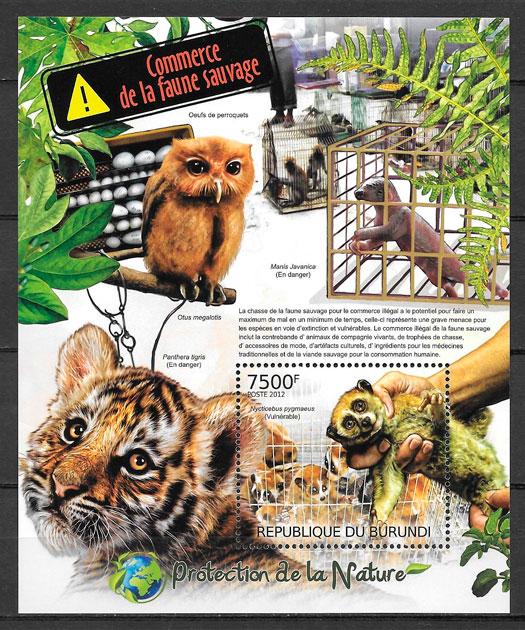 sellos fauna BURUNDI 2012