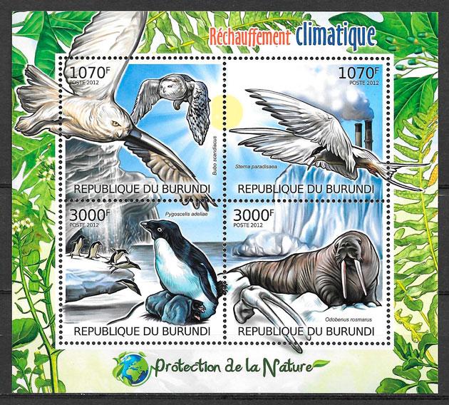filatelia colección fauna Burundi 2012