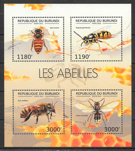 coleción sellos fauna Burundi 2012
