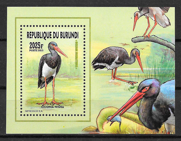 filatelia colección fauna Burundi 2016