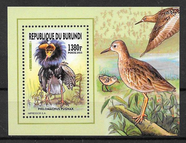 filatelias colección fauna Burundi 2016