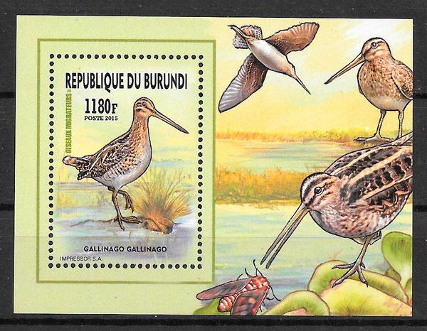 sellos colección fauna Burundi 2016