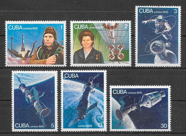 colección sellos espacio Cuba 1976