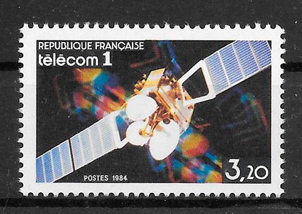 filatelia colección espacio Francia 1984