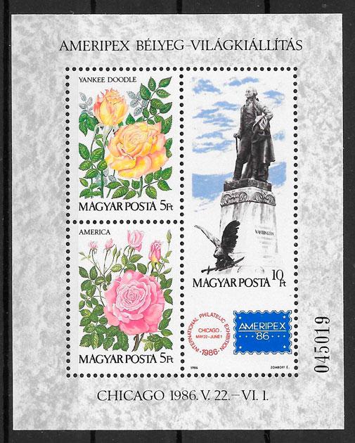 filatelia colección rosas Hungría 1986
